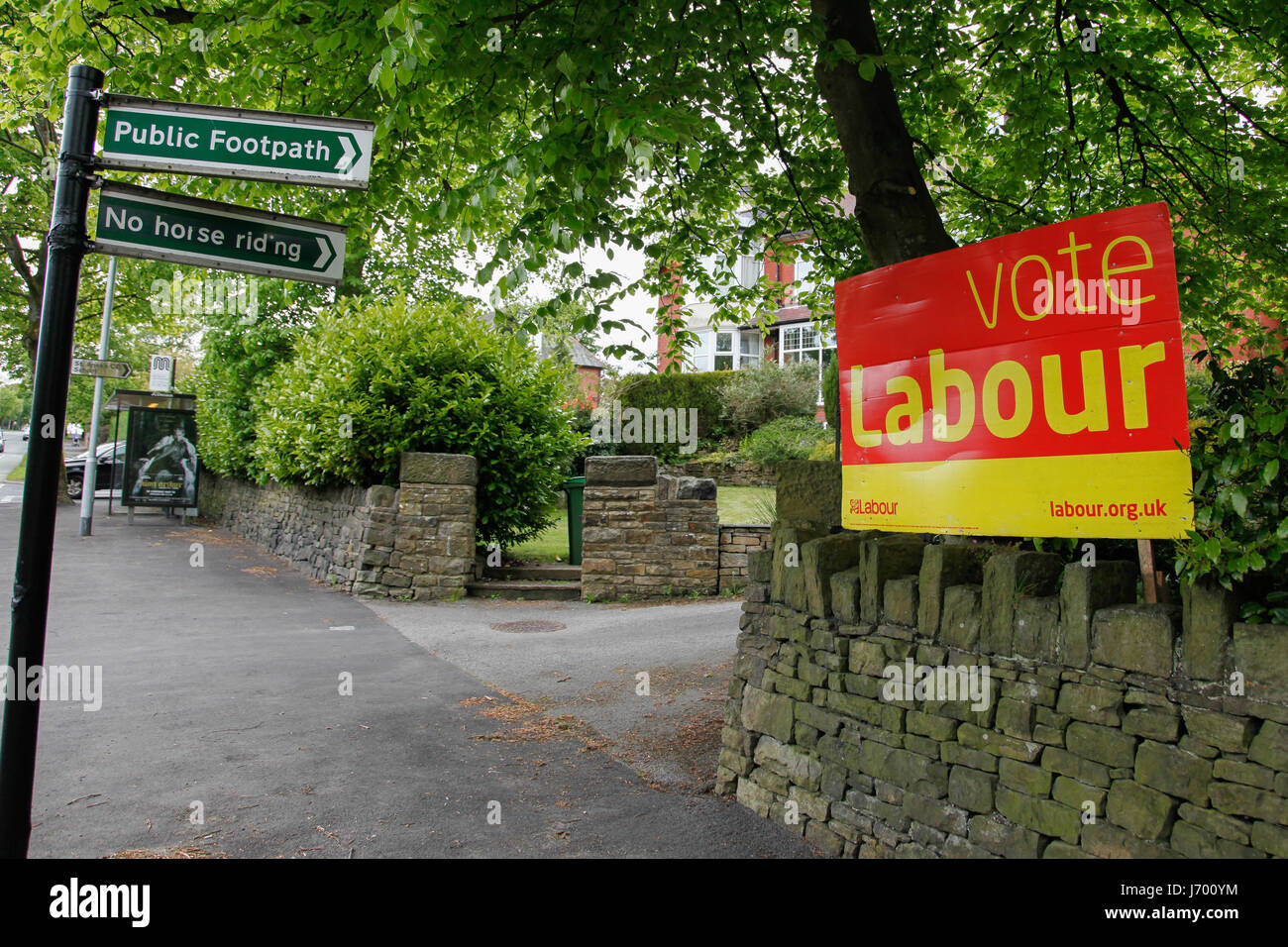 A campaign poster for the Labour party displayed in the Oldham East and Saddleworth constituency. - Stock Image