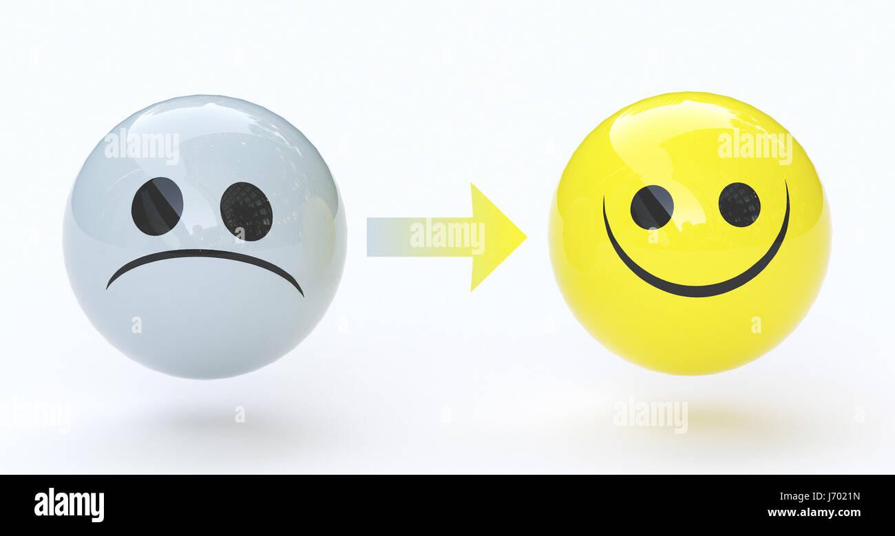Sad face and happy face, feelings
