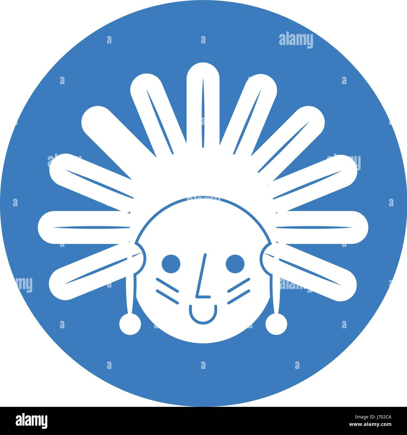 native American character icon - Stock Image