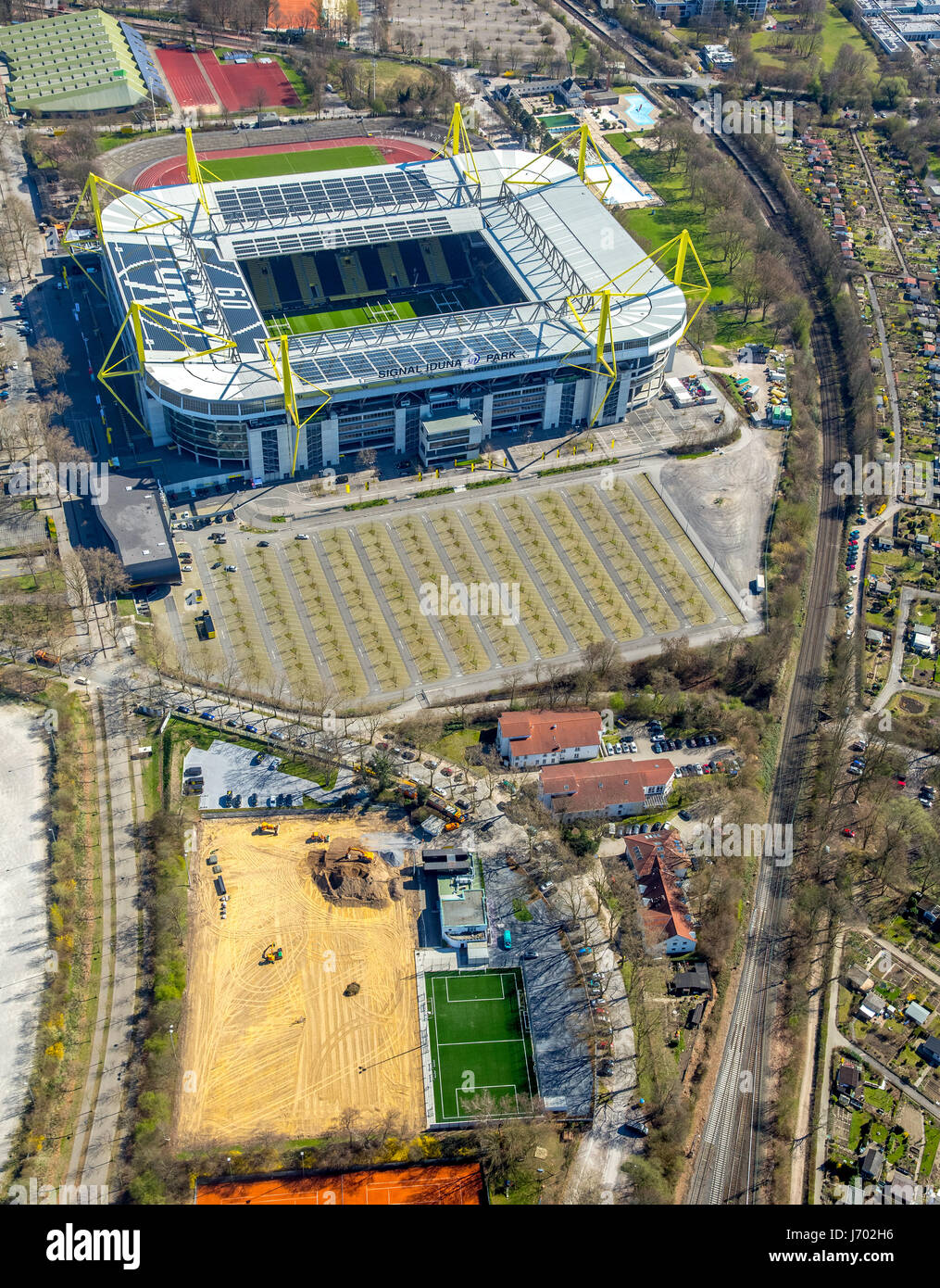 Evonik football school, BVB Dortmund training center at Signal Iduna Park, Westfalenstadion, Dortmund, Ruhr area, - Stock Image