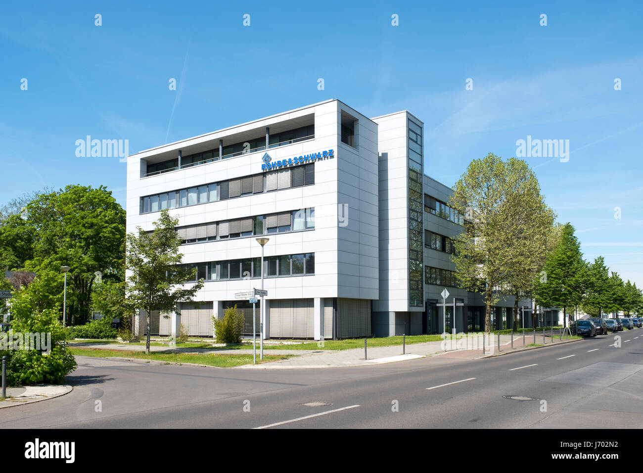 Rohde and Schwarz electronics manufacturer at Adlershof Science and Technology Park  Park in Berlin, Germany - Stock Image