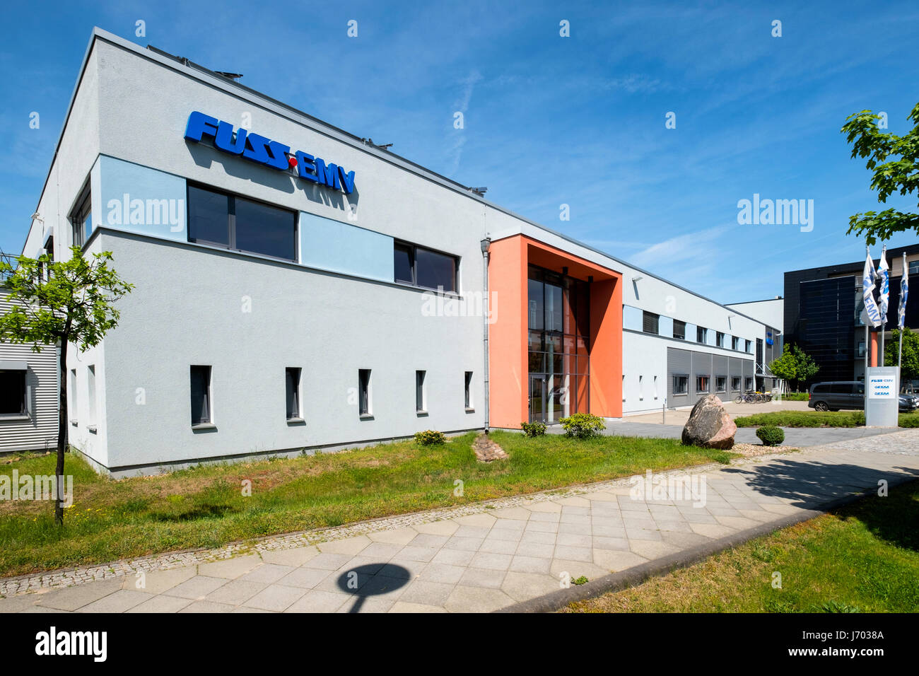 FUSS .EMV electrical engineering building at Adlershof Science and Technology Park  Park in Berlin, Germany - Stock Image