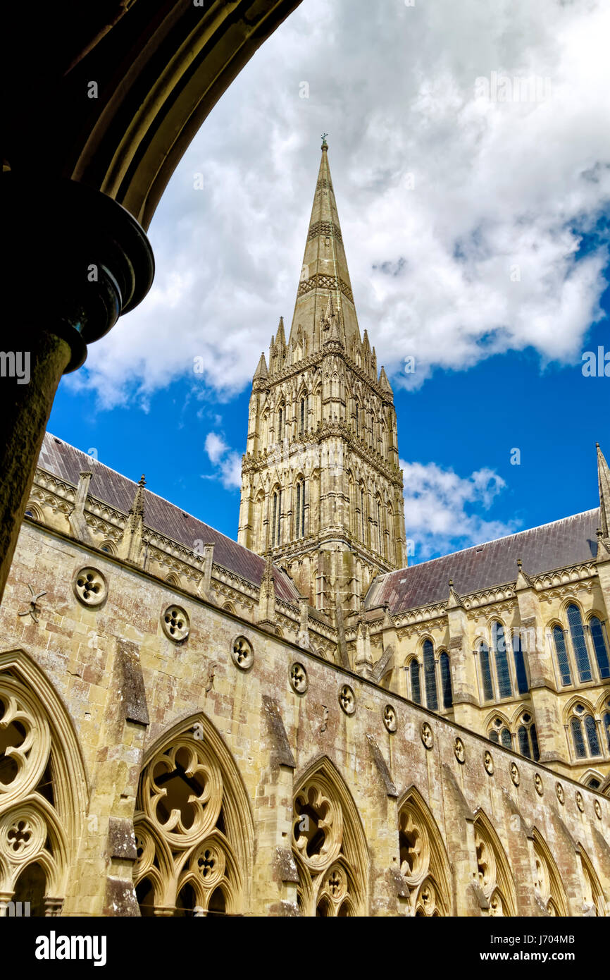 A view of the Salisbury Cathedral spire from the cloisters, Wiltshire, United Kingdom. Stock Photo