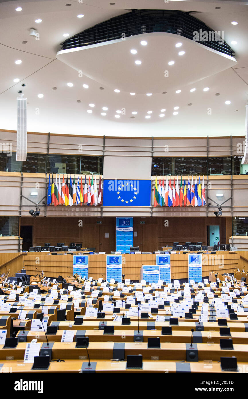 hemicycle of the European Parliament in Brussels - Stock Image