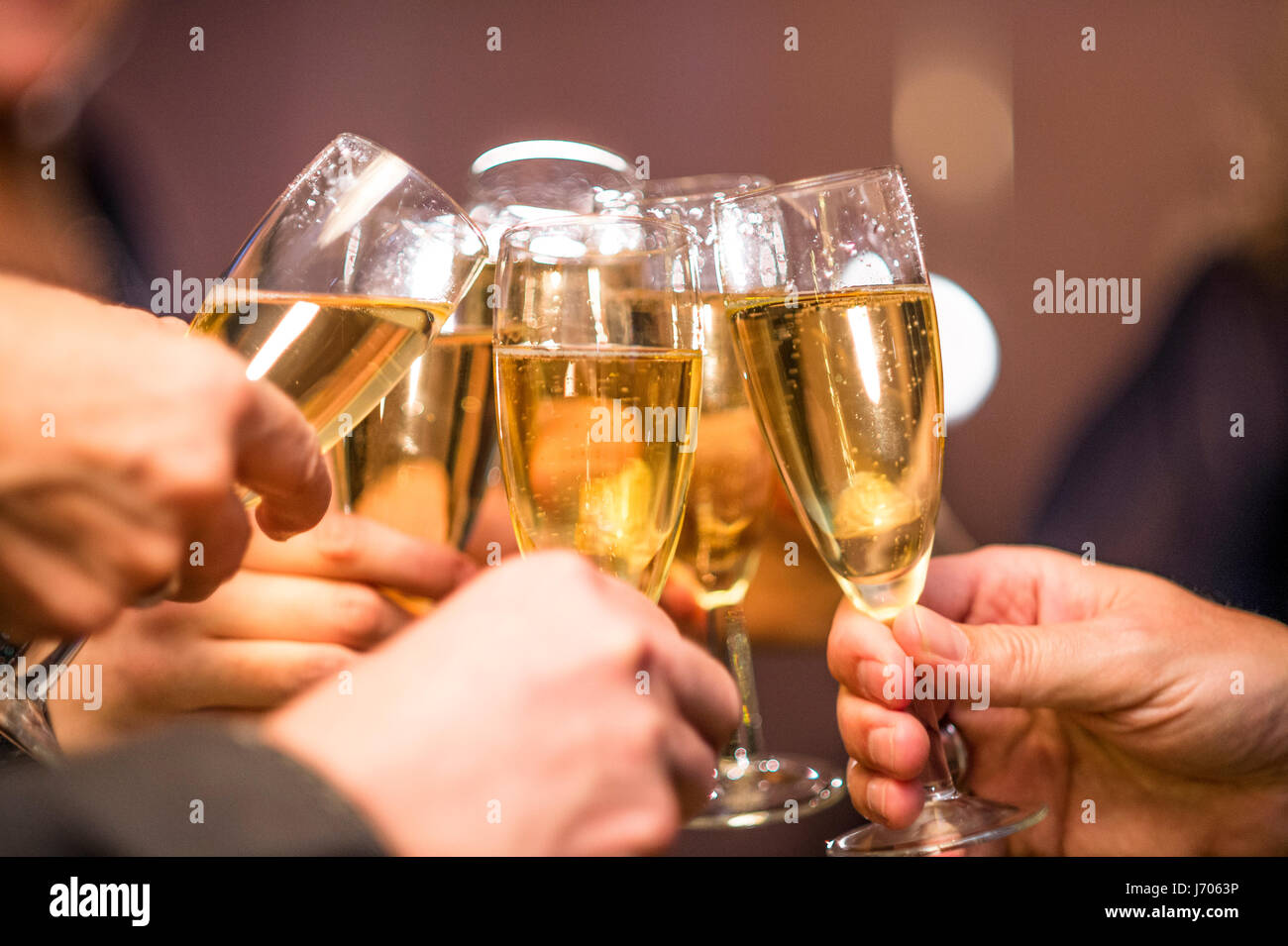 champagne glasses - Stock Image