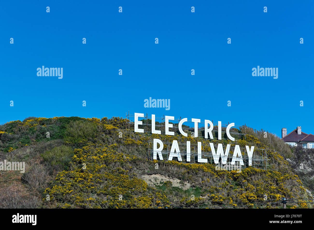 Electric railway sign in Douglas, Isle of Man Stock Photo