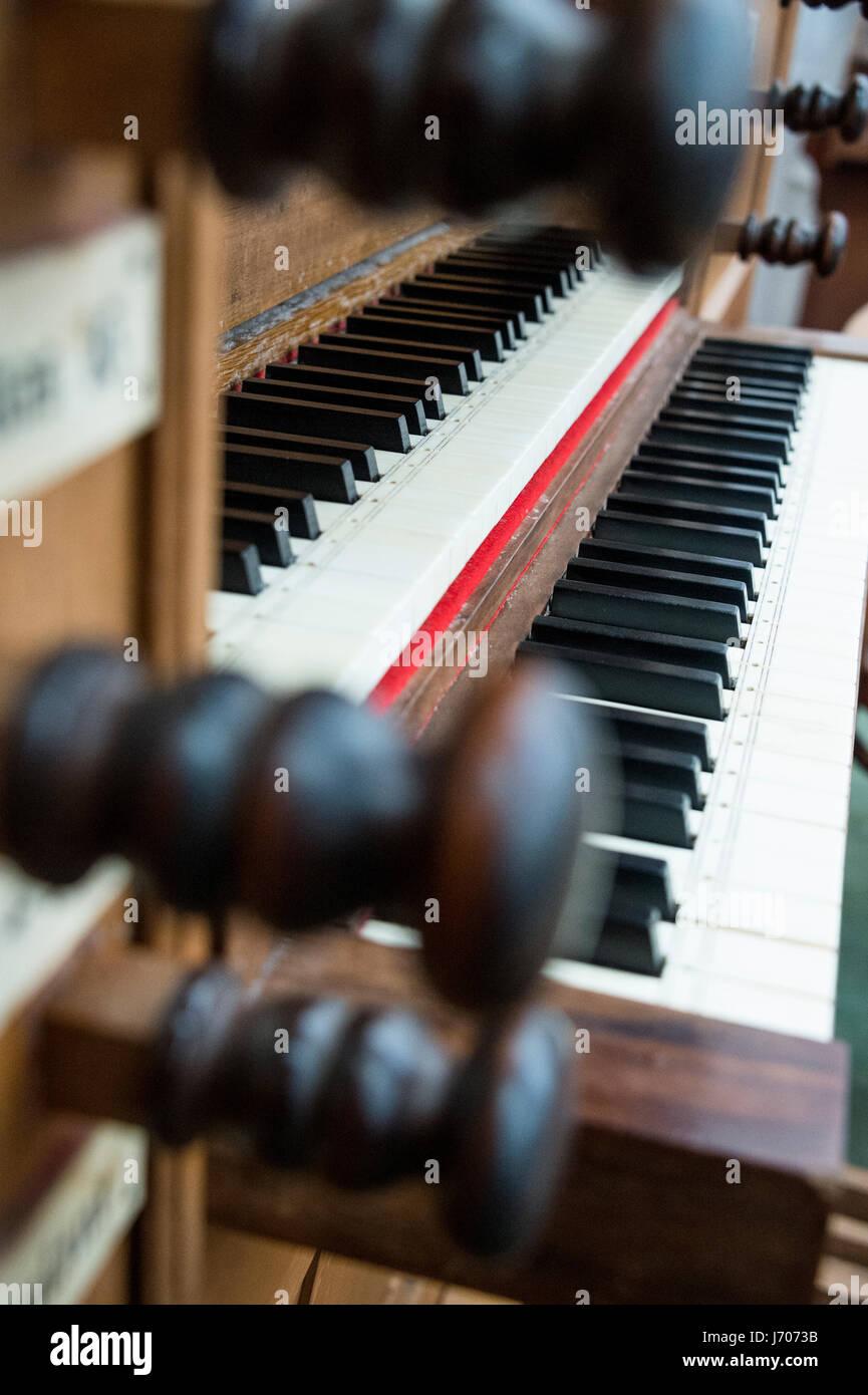pipe organ keyboard - Stock Image