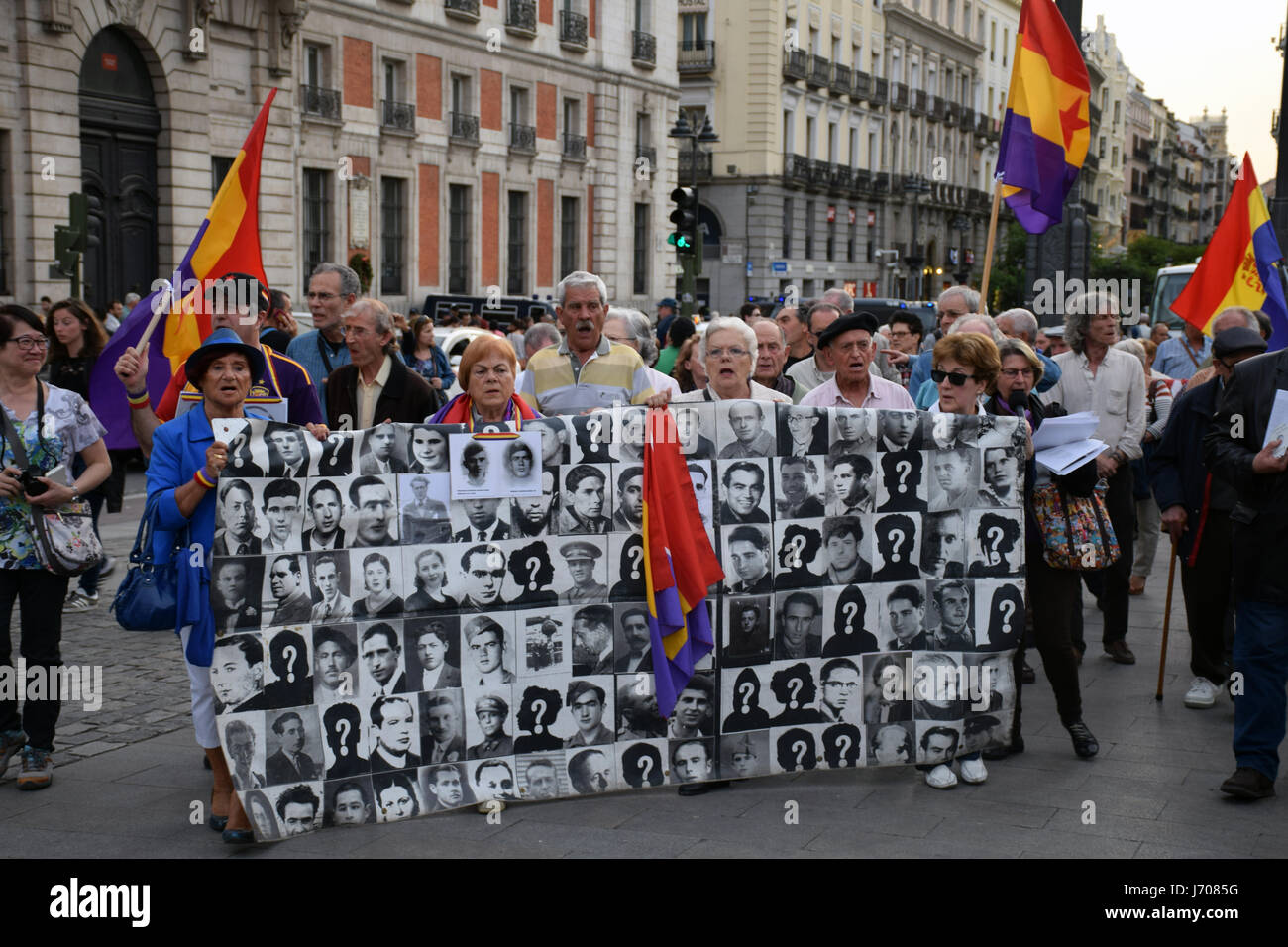 Weekly protest in Madrid regarding the Spanish government's refusal to exhume the bodies of thousands of people Stock Photo