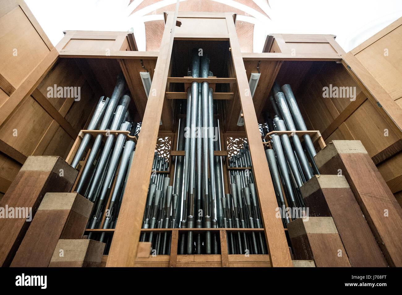 pipe organ in church - Stock Image