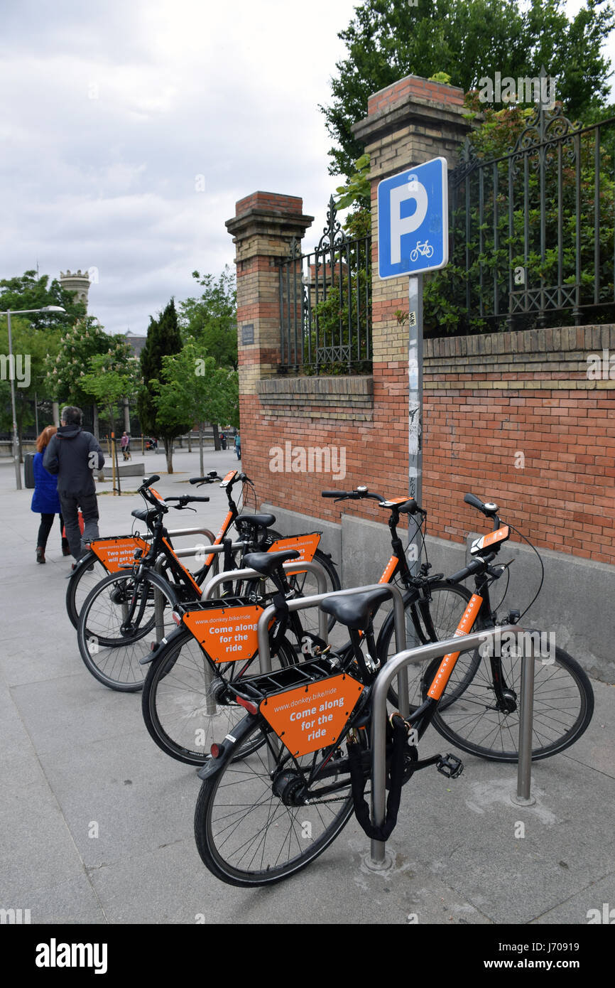 Bike hire scheme, Madrid, Spain - Stock Image