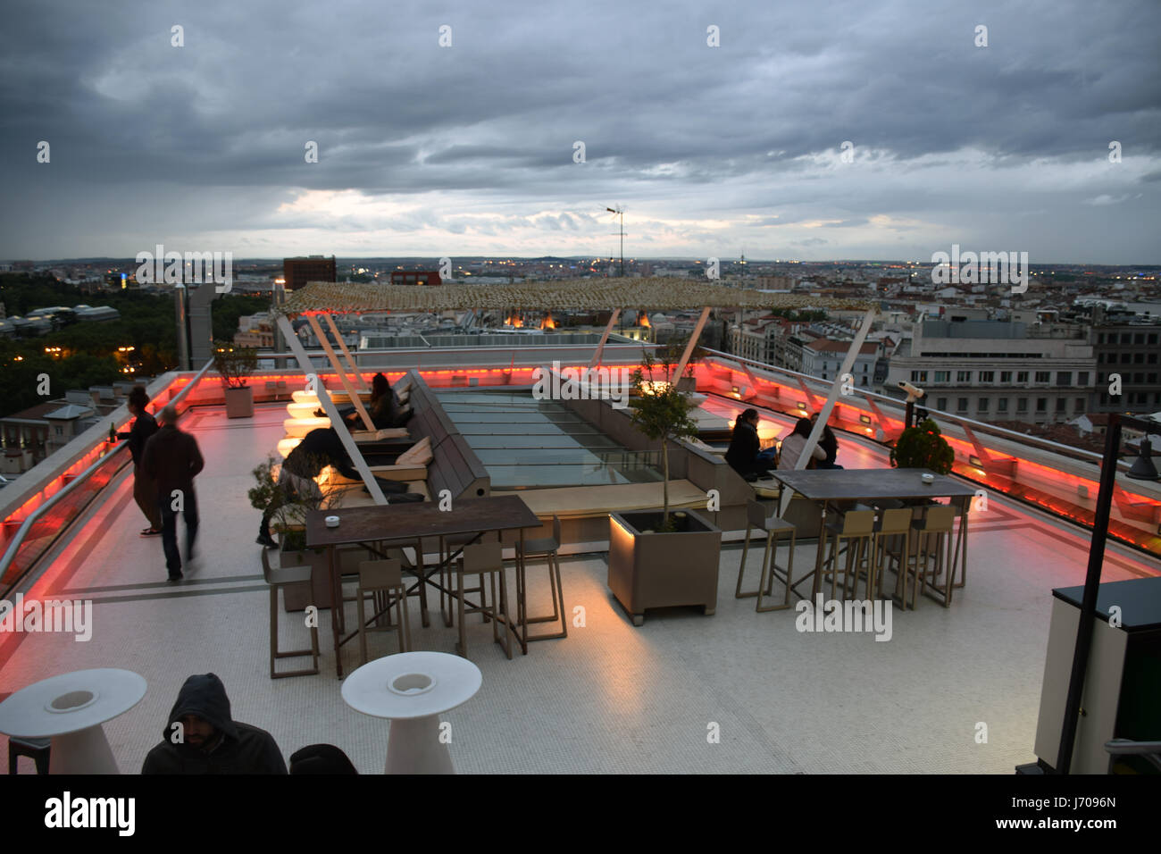 Rooftop bar & restaurant, Tartan Roof on top of Circulo de Bellas Artes, Madrid, Spain - Stock Image