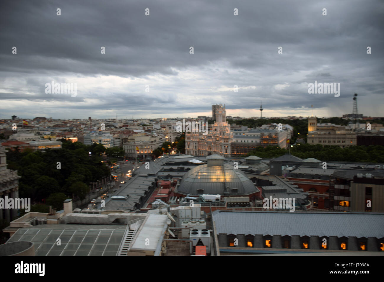 View from rooftop bar & restaurant, Tartan Roof on top of Circulo de Bellas Artes, Madrid, Spain - Stock Image