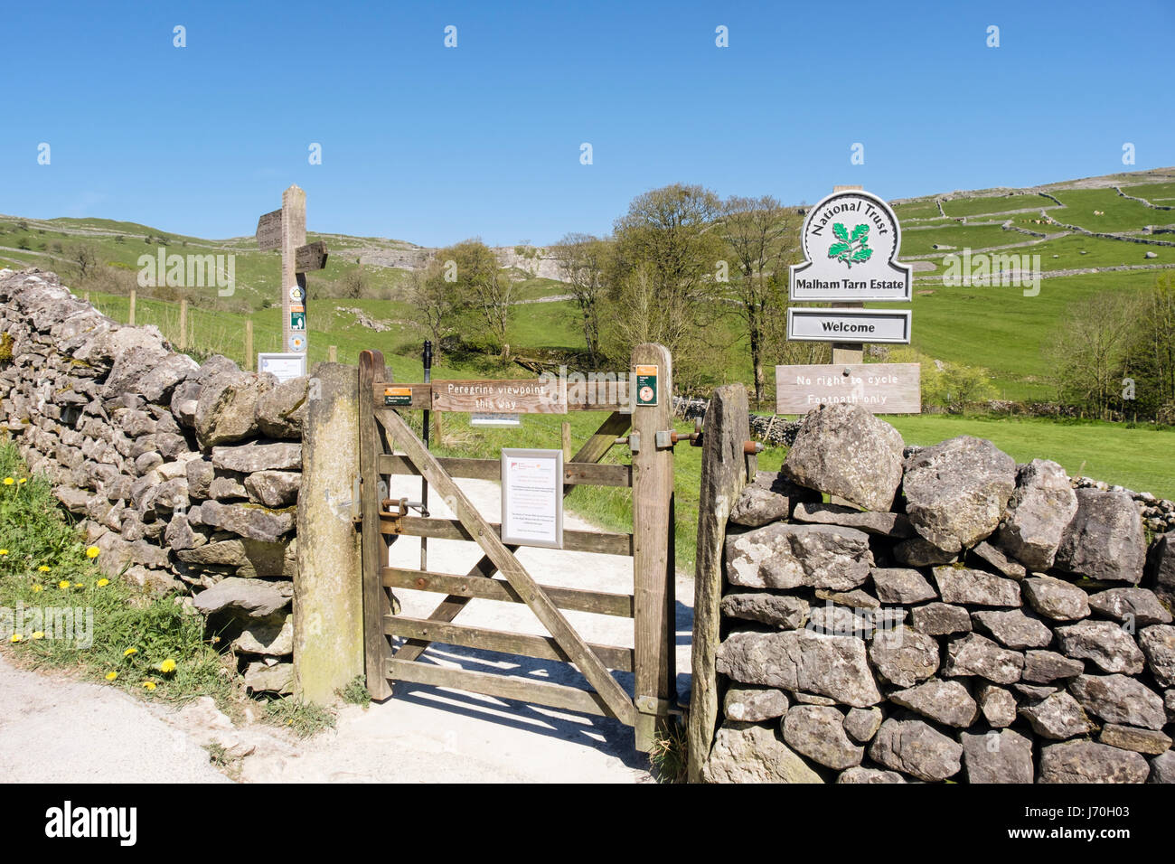 Gate and footpath access to Peregrine viewpoint at Malham Cove following Pennine Way. Malham Yorkshire Dales National - Stock Image