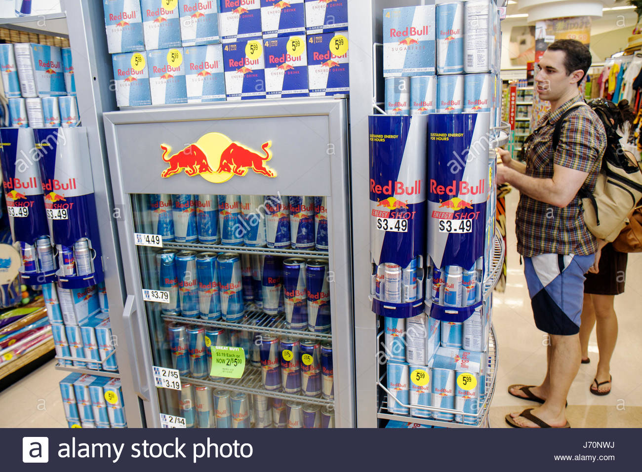 Miami Beach Florida Walgreens pharmacy drug store shopping packaging retail display shelf shelves products for sale - Stock Image