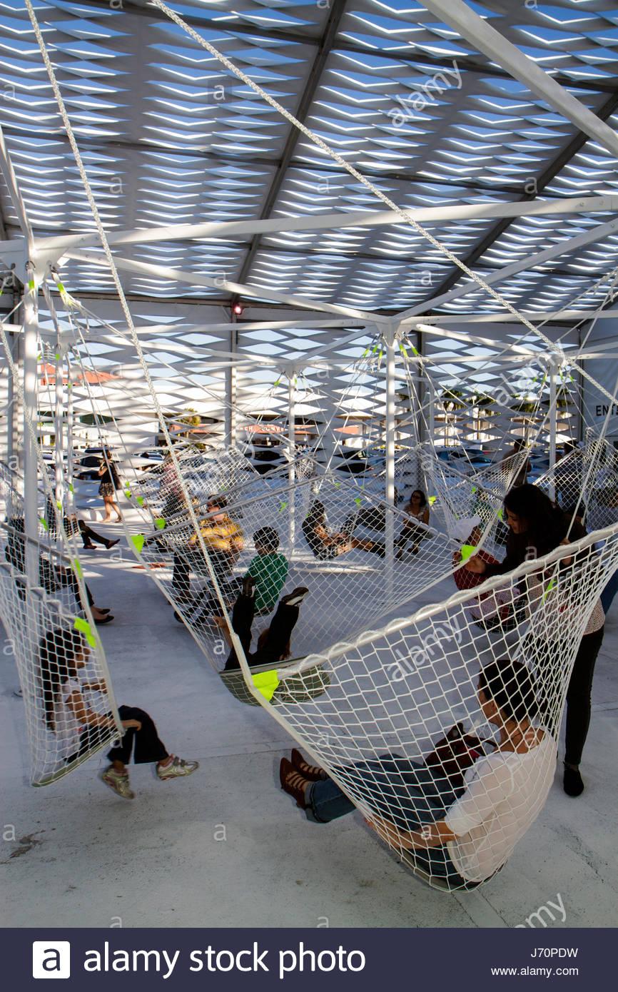 Miami Beach Florida Art Basel hammock - Stock Image