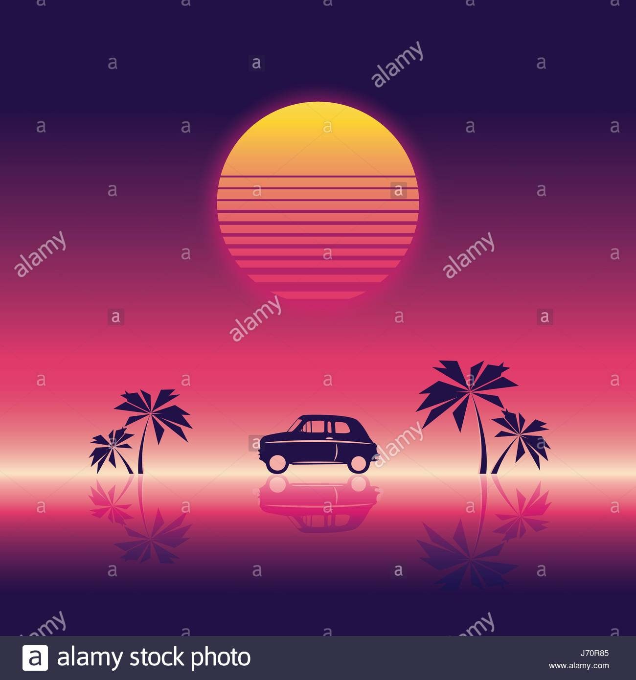 Beach Party Poster Vector Illustration Template With Sunset And Palm Trees Small Car 80s Neon Vintage Retro Style