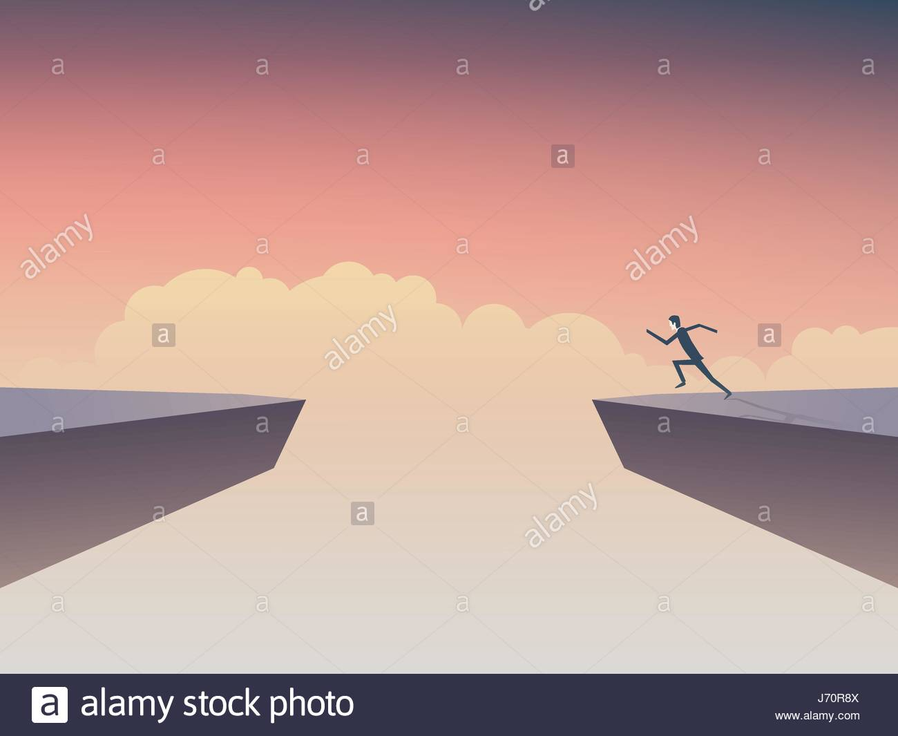 Businessman about to jump over gap between two cliffs. Symbol of business risk, courage, determination, motivation. - Stock Vector