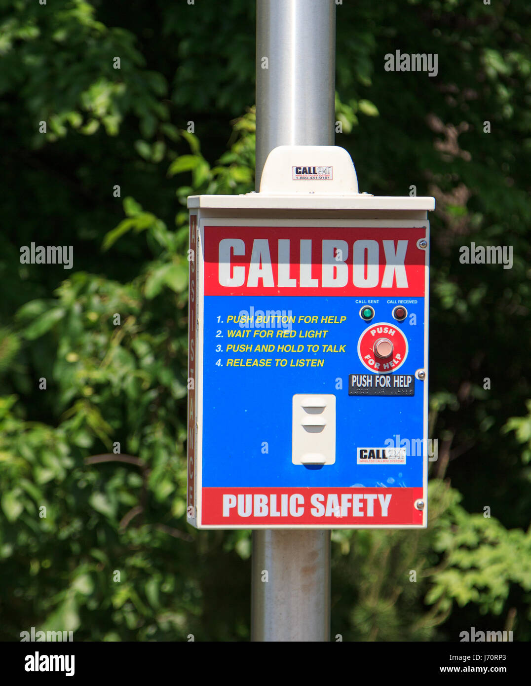 parking lot call box for emergency alarm public safety - Stock Image