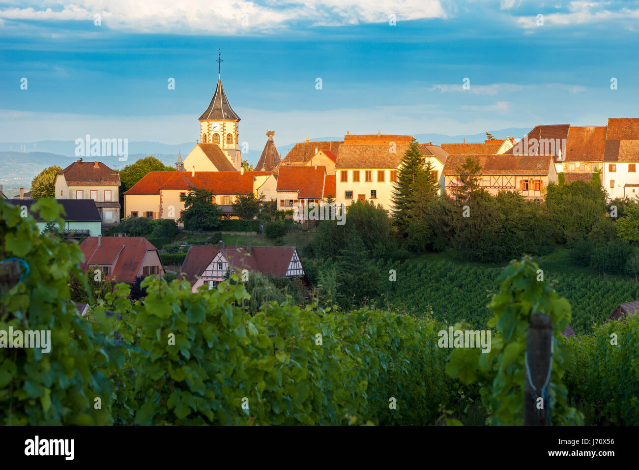Last rays of sunlight on town of Zellenberg along the Route des Vins, Alsace, Haut-Rhin, France - Stock Image