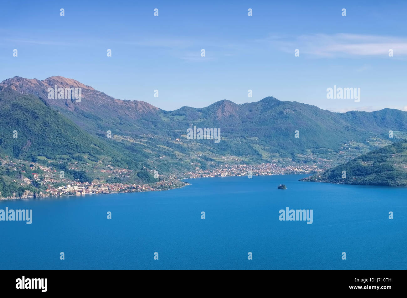 Iseo lake in Alps, Lombardy in northern Italy - Stock Image