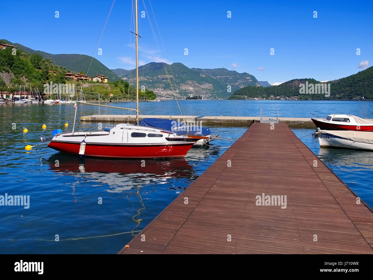 Iseo lake Marina in Alps, Lombardy in northern Italy - Stock Image