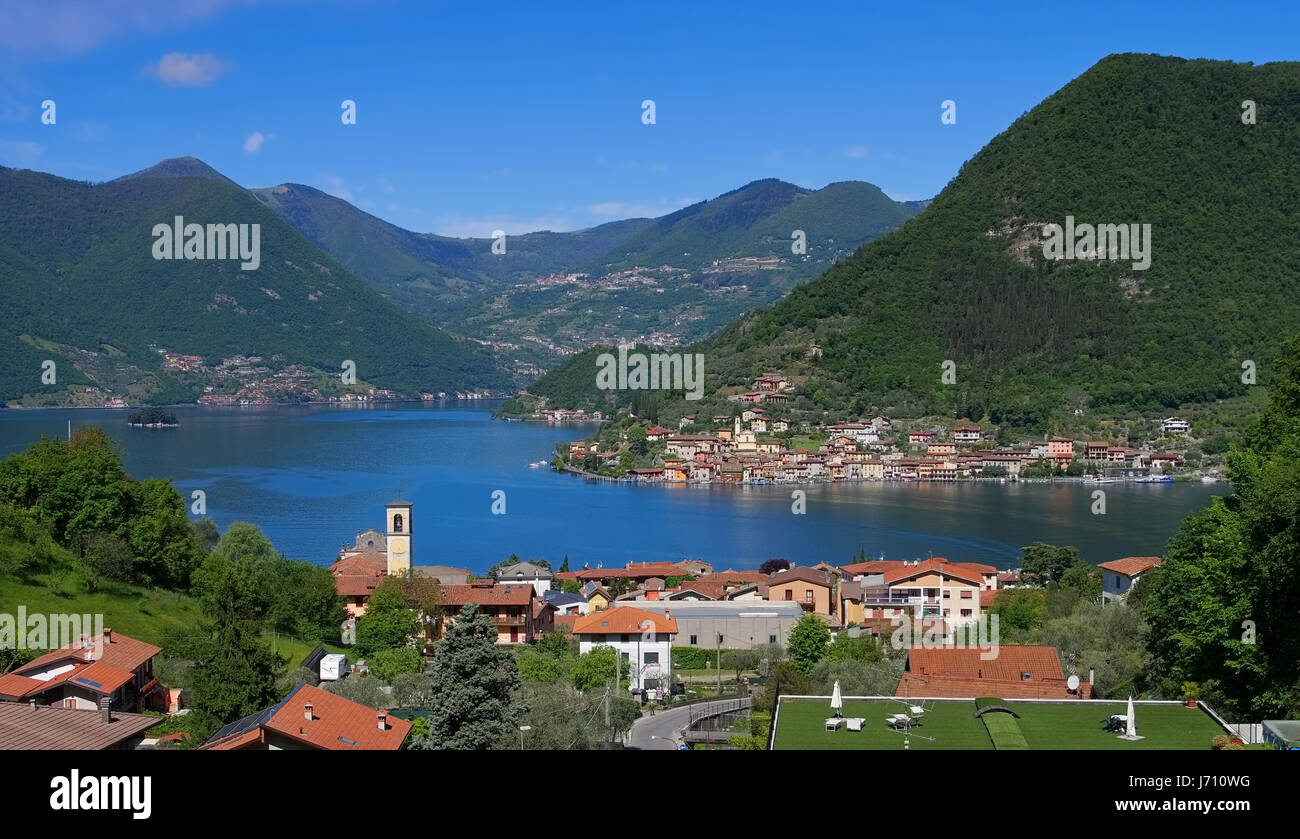 Iseo lake and island Monte Isola in Alps, Lombardy in northern Italy - Stock Image