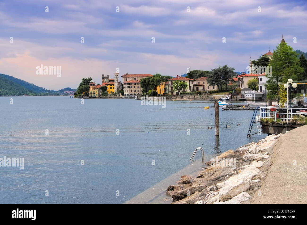 Predore Iseo lake, Lombardy in Italy - Stock Image