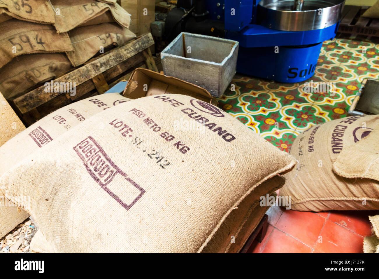 Cuban Coffee bean bag, Cuba coffee, Cuba coffee bean bag, Cuban coffee beans, coffee Cuba, Coffee Cuban, Cuba, coffee, - Stock Image