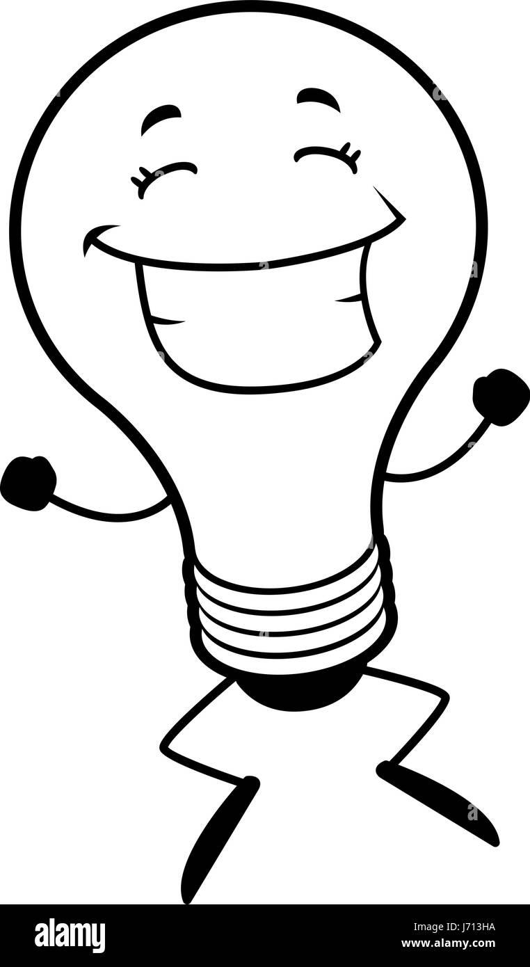 Illustration Cartoon Happy Light Bulb Black And White Stock Photos