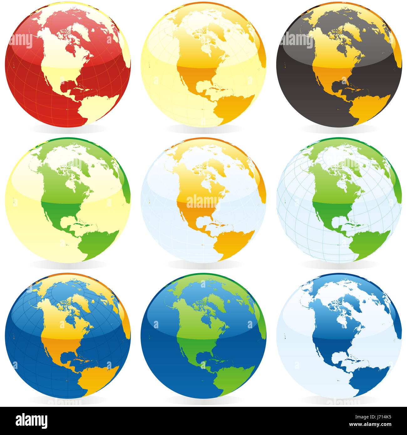 object isolated illustration globe planet earth world map atlas map of the - Stock Image