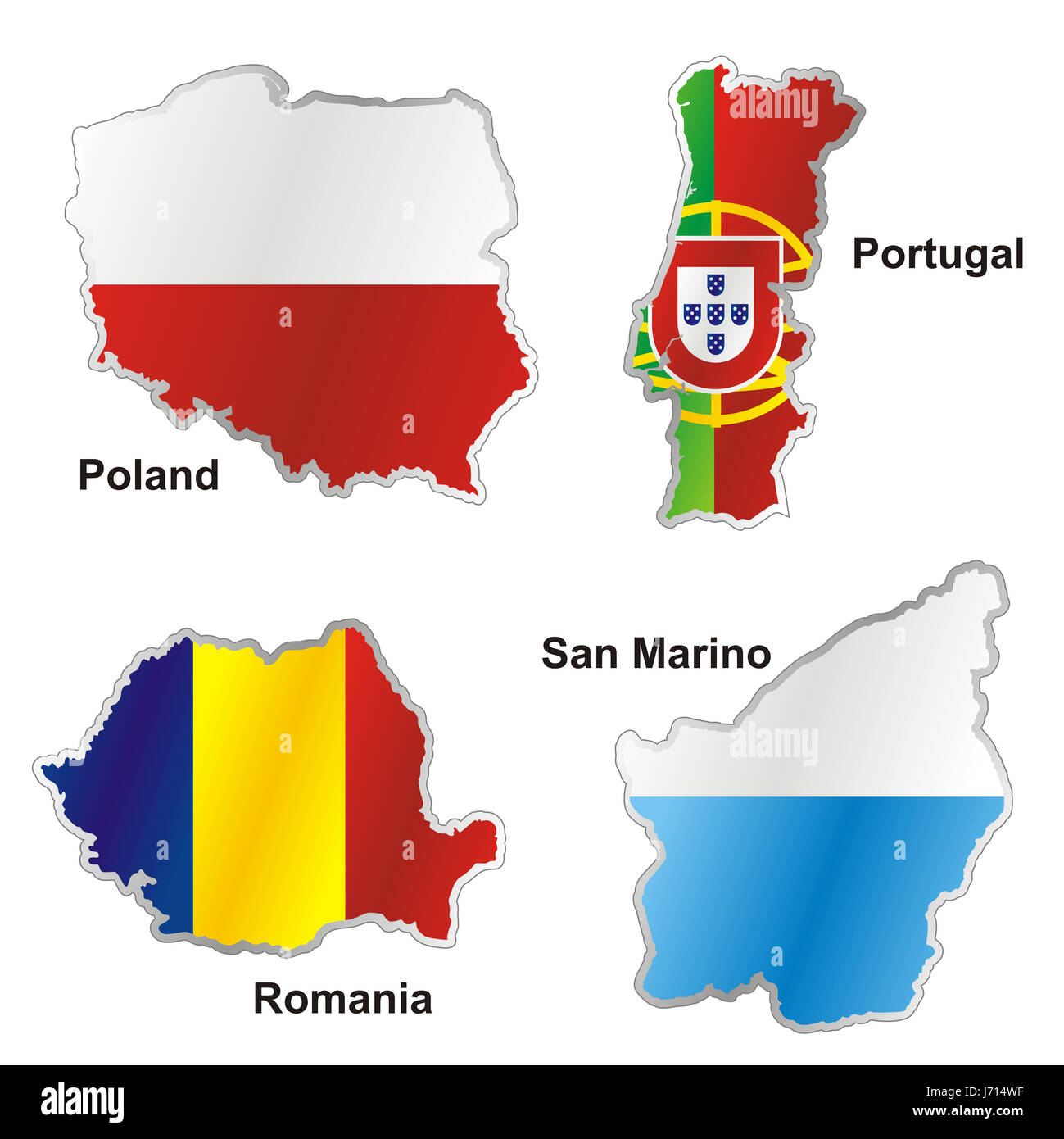 Flag Portugal Poland Romania Map Atlas Map Of The World Isolated