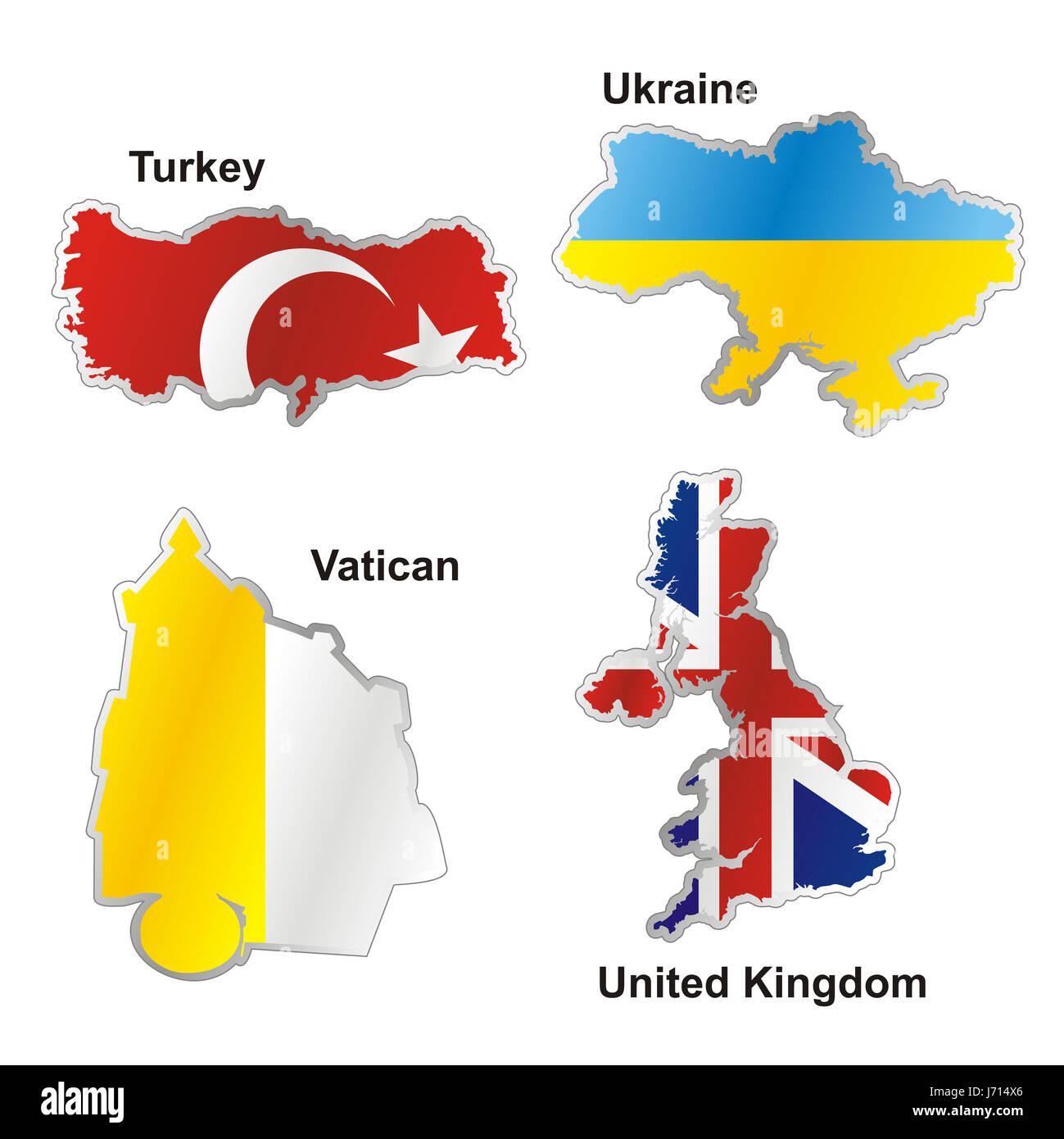 flag turkey ukraine united kingdom map atlas map of the world ... on
