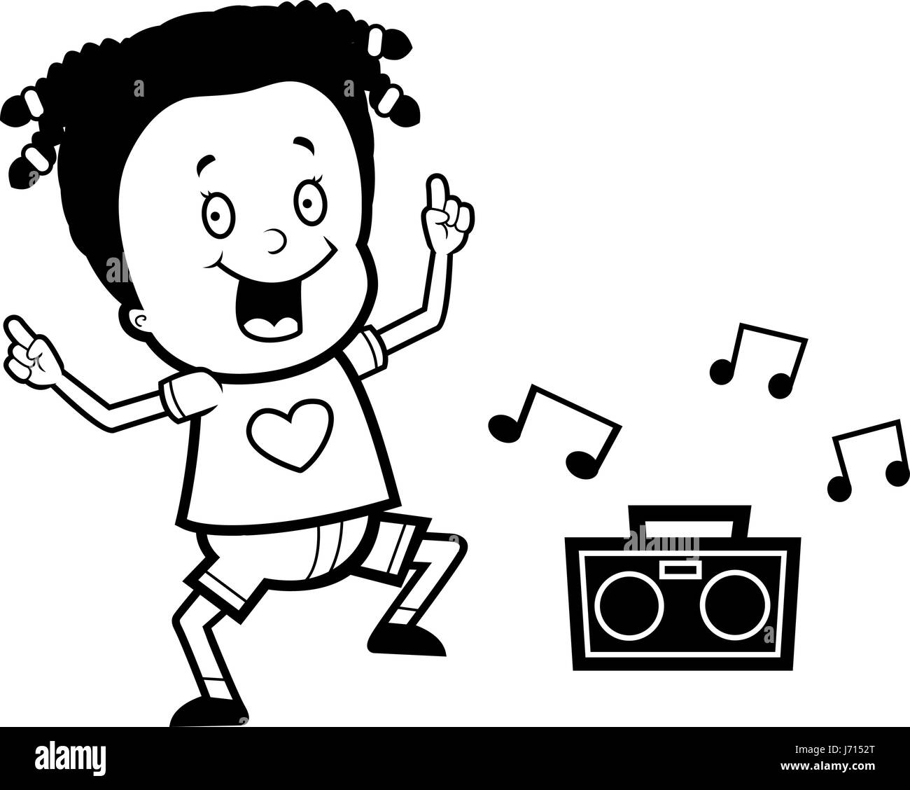 A Happy Cartoon Girl Dancing And Smiling Stock Vector Image Art Alamy