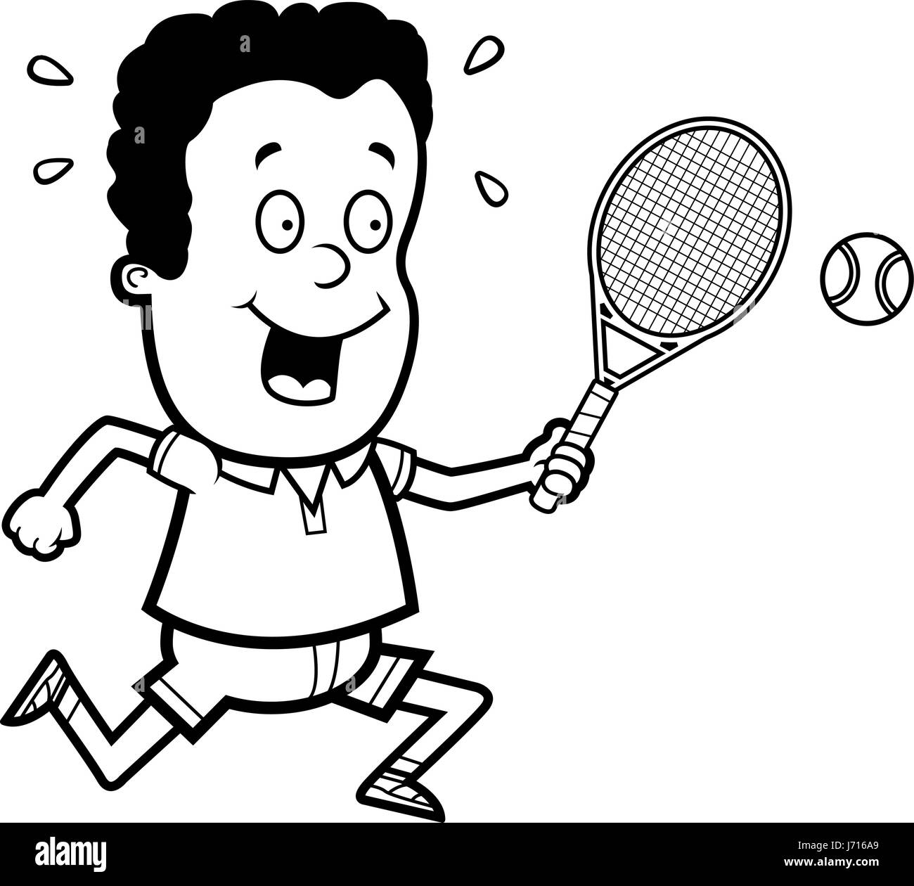 A cartoon illustration of a child playing tennis. - Stock Image