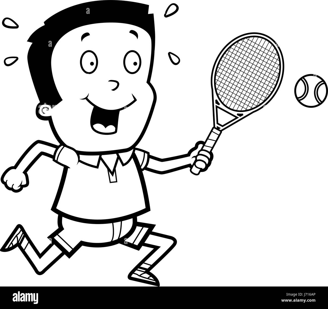 A cartoon illustration of a boy playing tennis. - Stock Image
