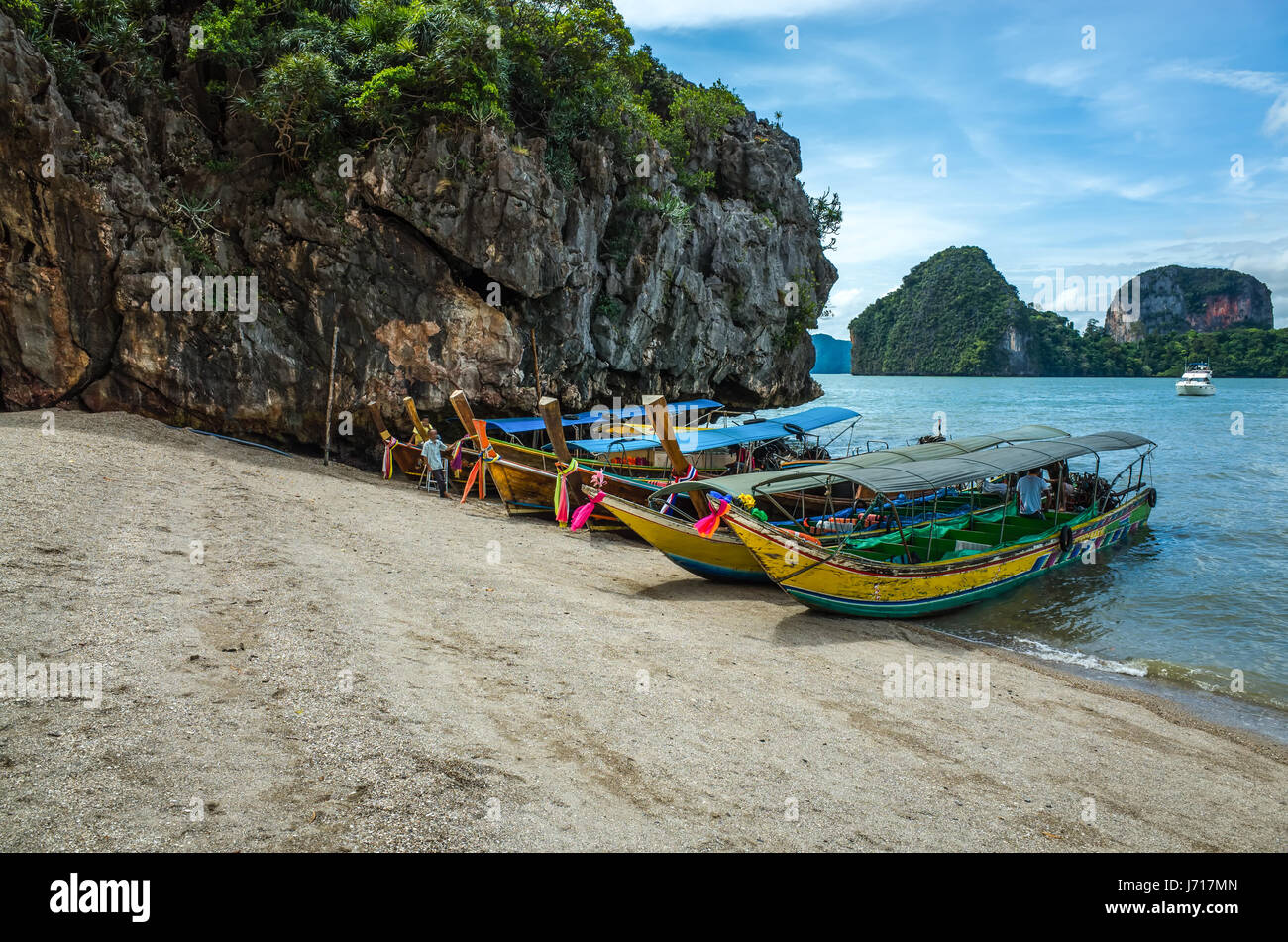 Boats on the shore of the beach, Thailand - Stock Image
