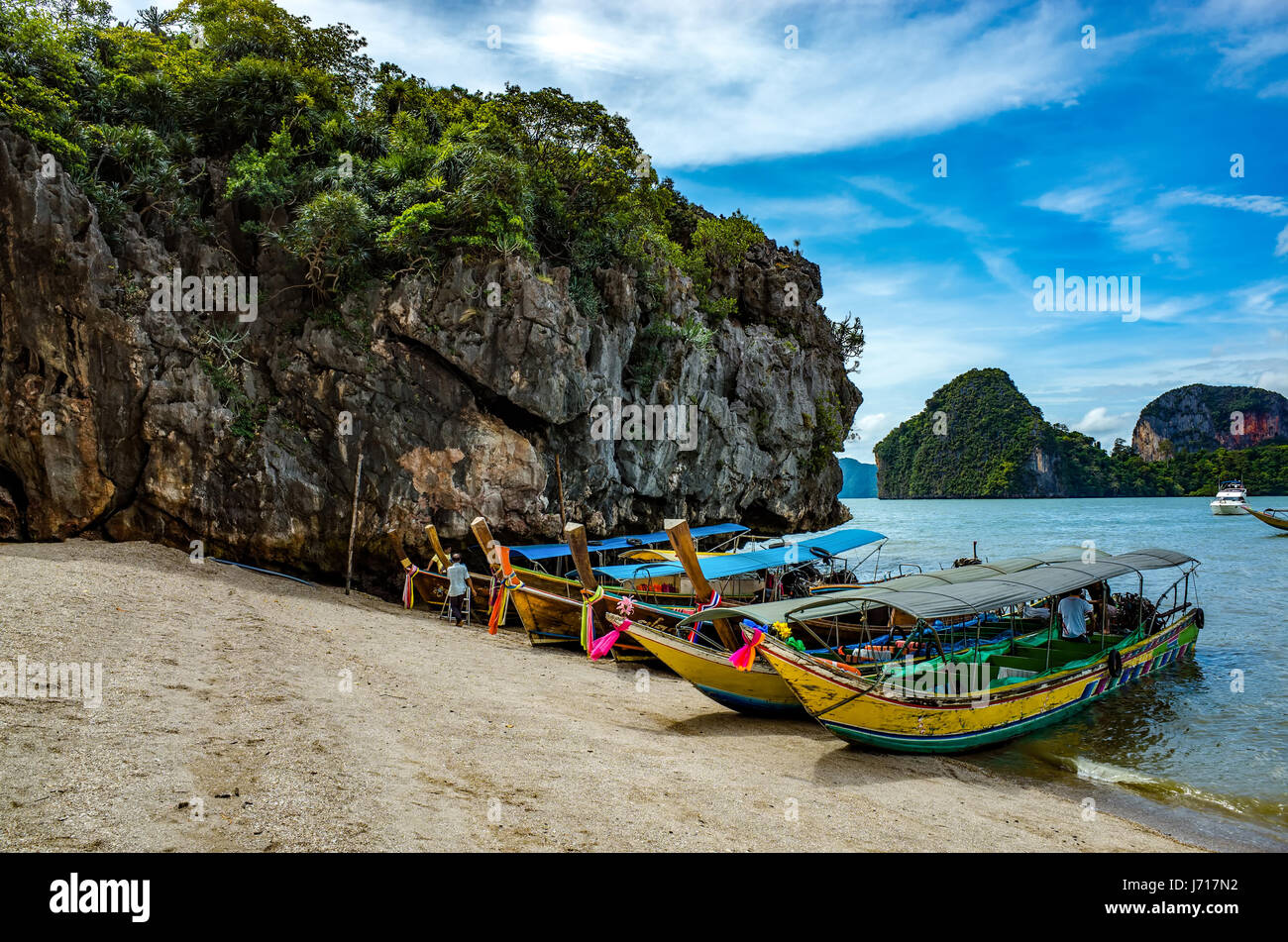 Boats on the beach of Phuket, Thailand - Stock Image