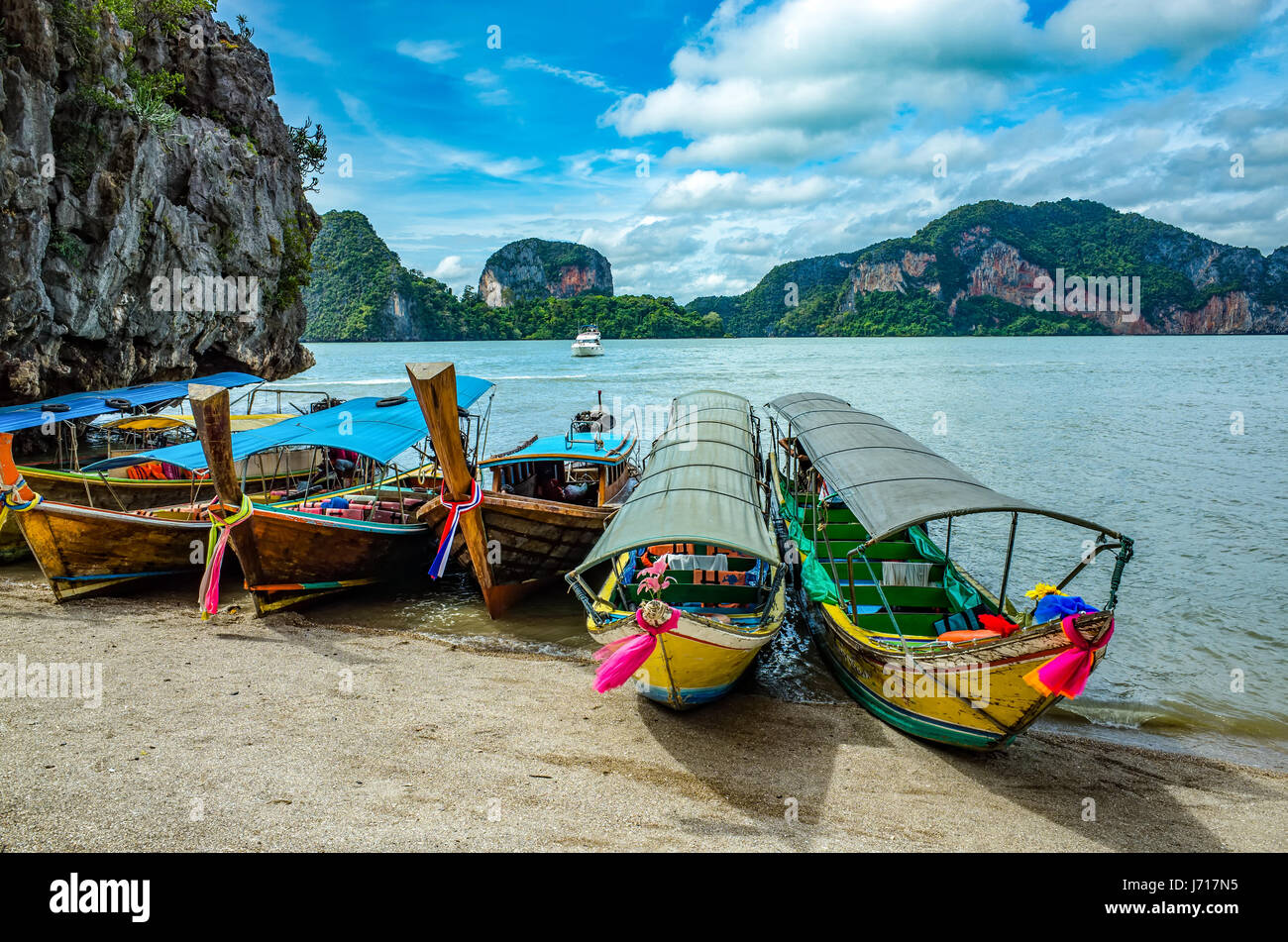 Thai boat on the shore, Phuket - Stock Image