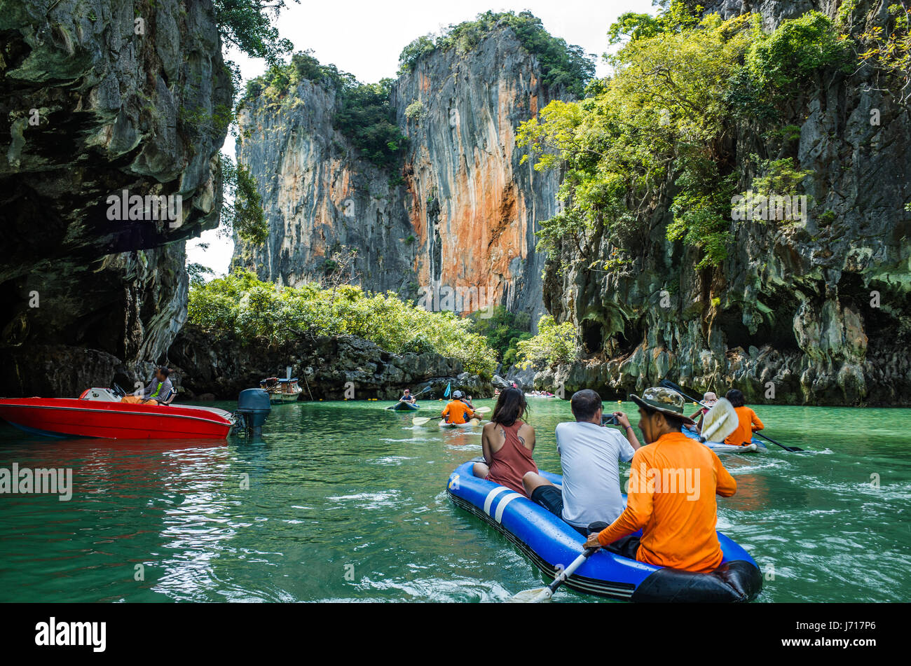Hiking kayaking the caves of Phang nga Bay, Phuket - Stock Image