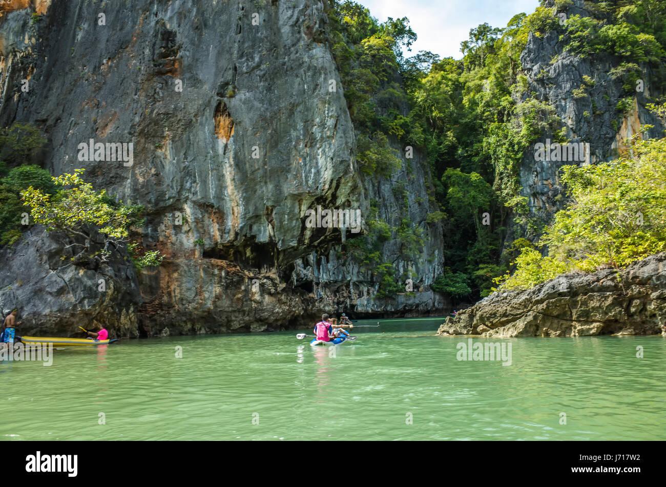 Kayaks on the Islands of Phuket, Phang nga Bay, Thailand - Stock Image