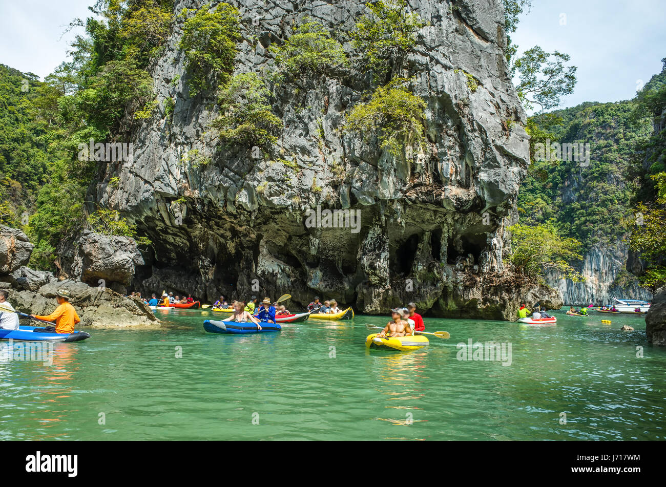 The kayaks near the caves in Phuket, Thailand. Asia - Stock Image