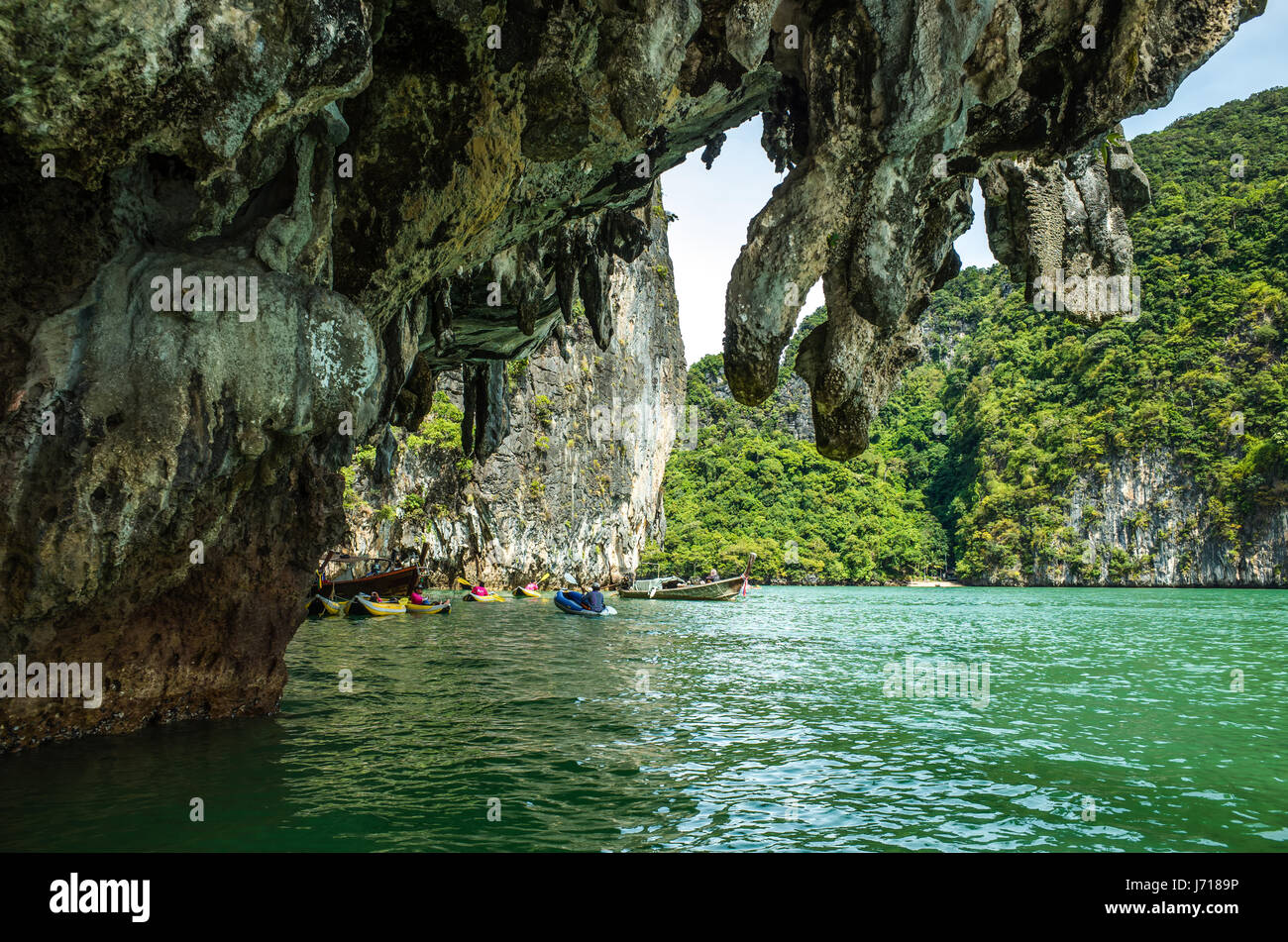 The kayaks near the caves in Phuket, Thailand - Stock Image