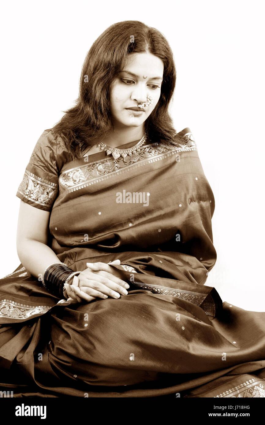 Woman Sad Vintage Traditional Sadness Depression Indian Women Beautiful