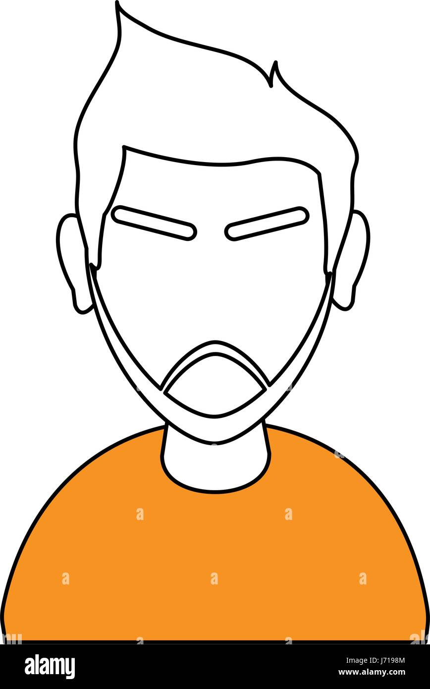 White And Orange Silhouette Of Cartoon Half Body Faceless Man With