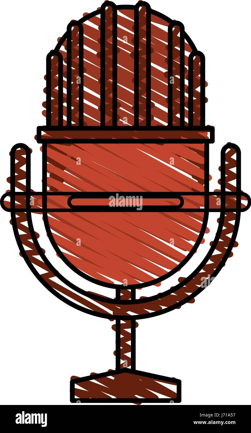colorful crayon silhouette of studio microphone - Stock Vector