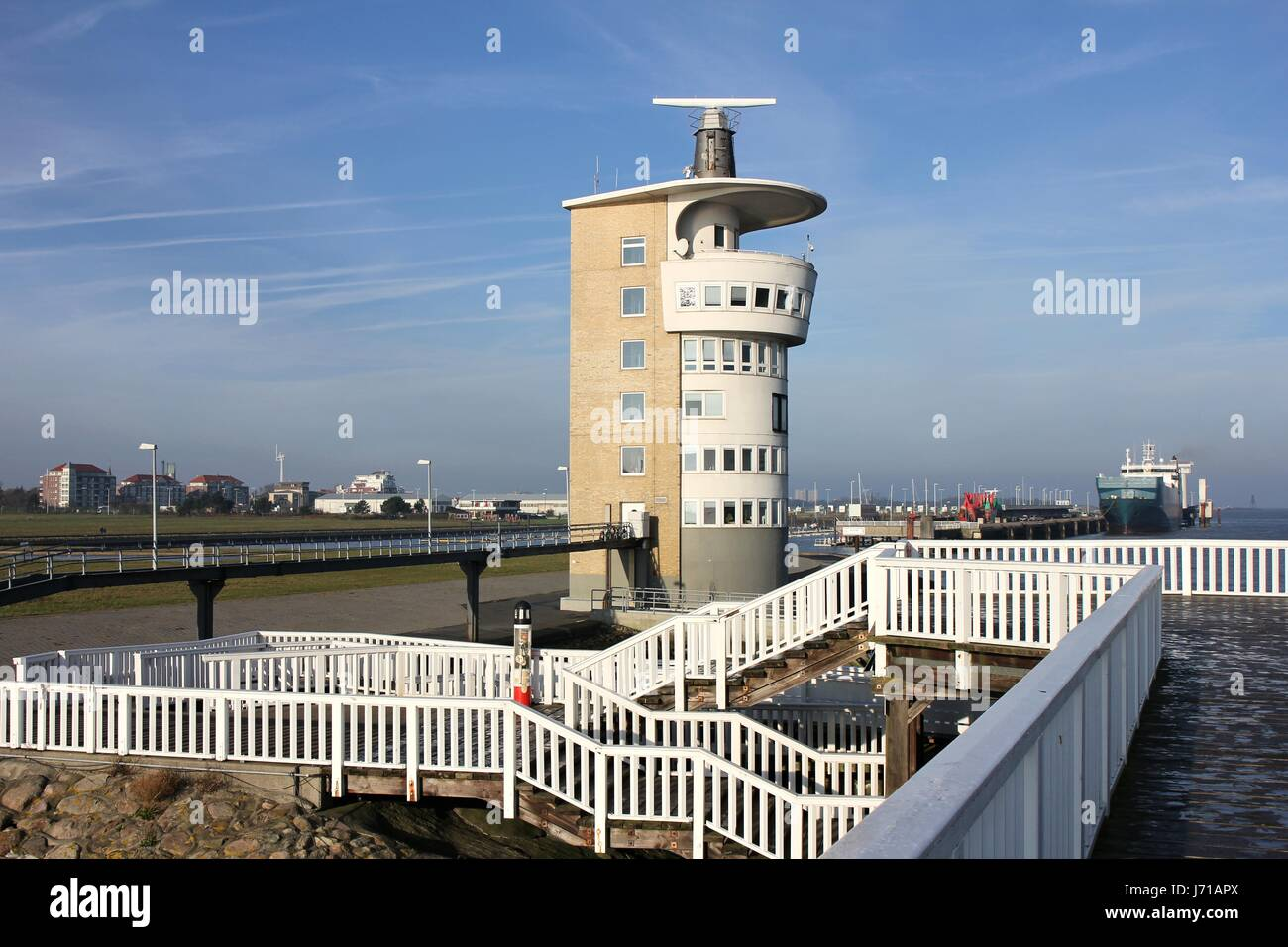 Alte Liebe - famous observation deck in Cuxhaven/ Germany at the river Elbe - Stock Image