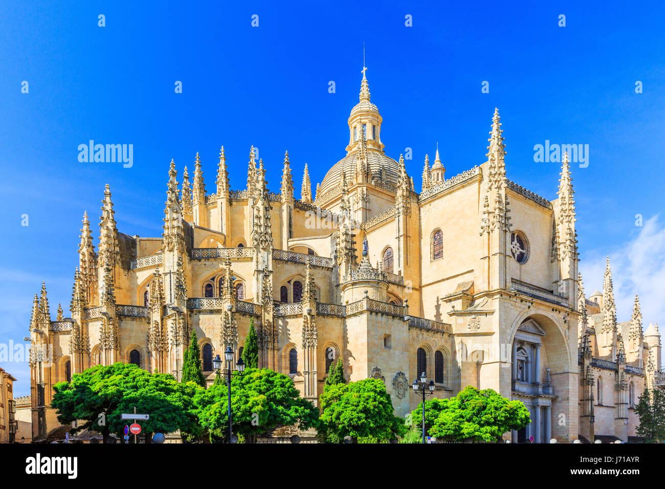 Cathedral de Santa Maria de Segovia in the historic city of Segovia, Castilla y Leon, Spain. - Stock Image