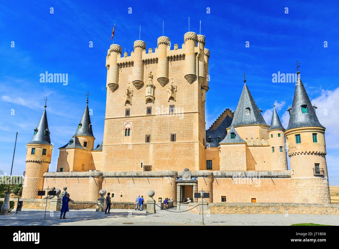Segovia, Spain. The Alcazar of Segovia. Castilla y Leon. - Stock Image