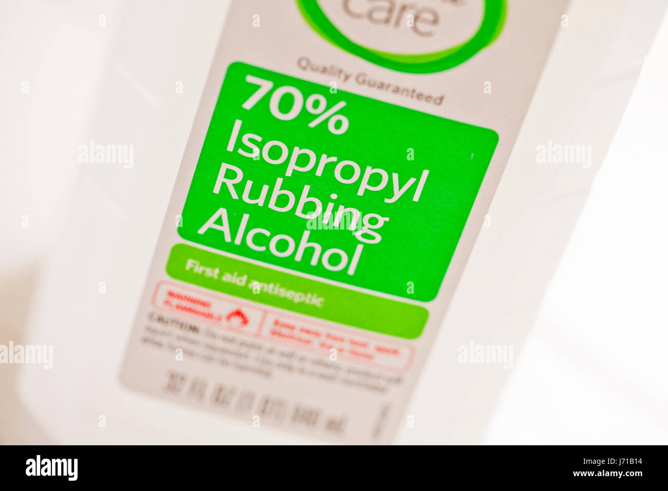 70% isopropyl rubbing alcohol bottle - USA Stock Photo
