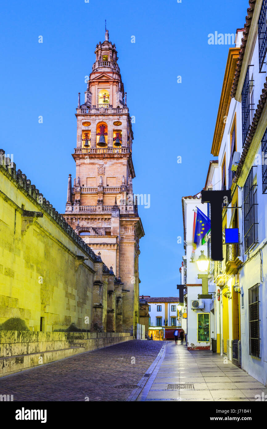 Cordoba, Spain. Bell tower at the Mezquita Mosque-Cathedral. - Stock Image